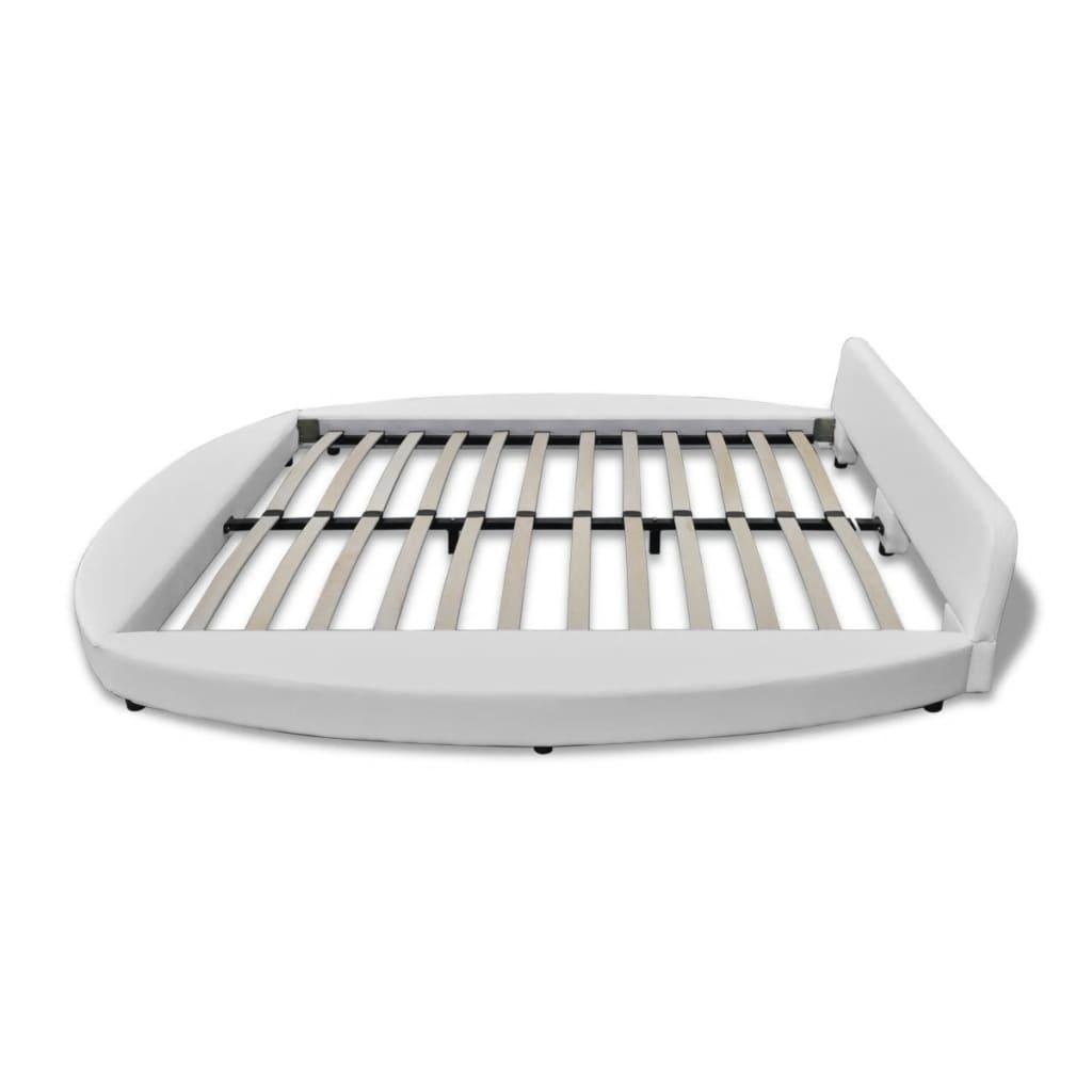 säng rea örebro ~ vidaxlse  vit säng rund i konstläder 180 cm med