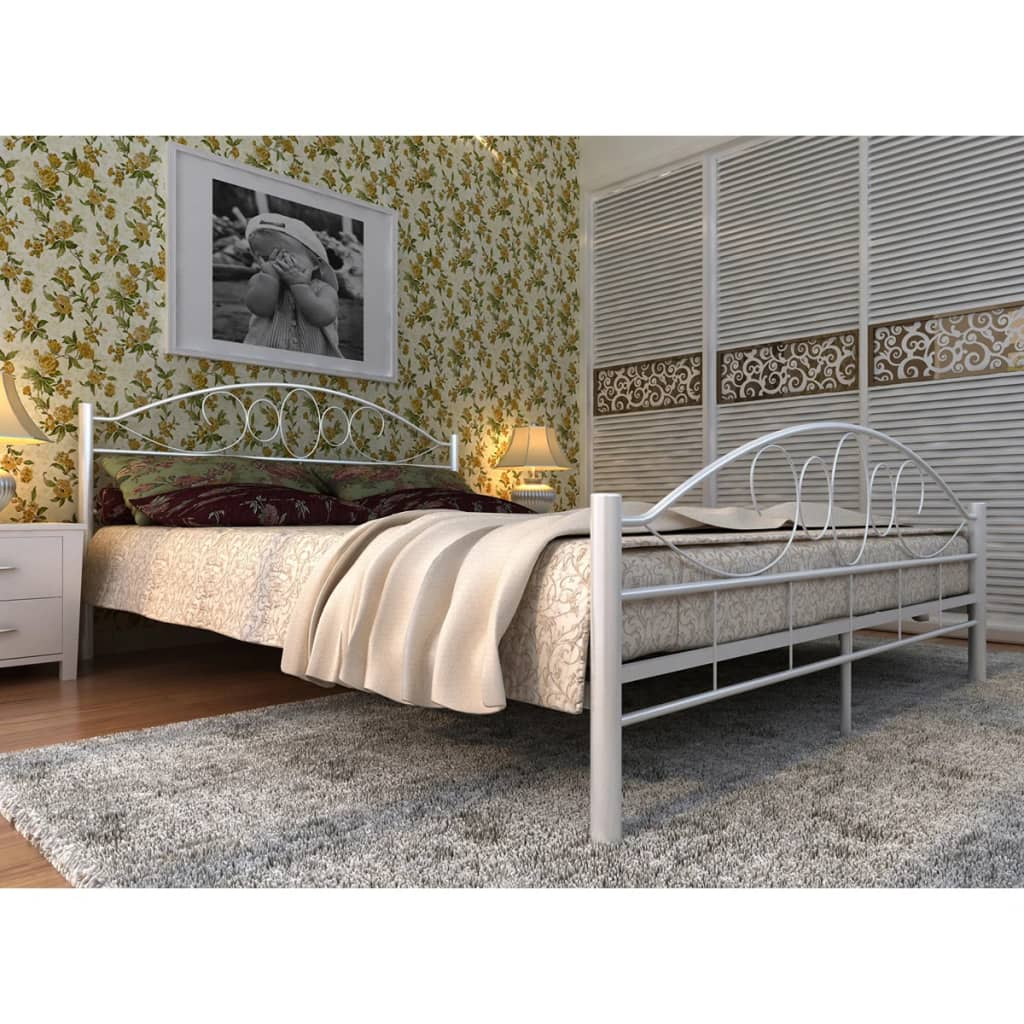 la boutique en ligne lit blanc en m tal avec matelas courb en mousse m moire 140 x 200cm. Black Bedroom Furniture Sets. Home Design Ideas