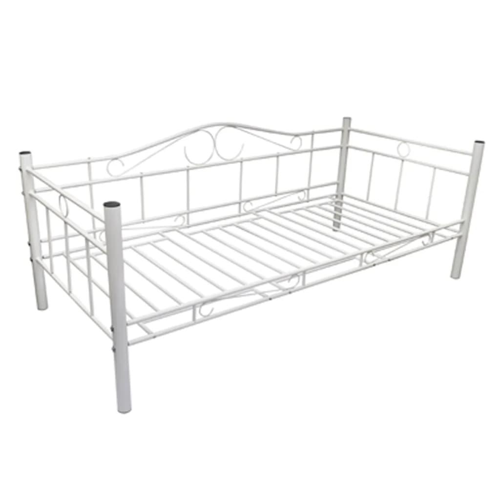 einzelbett metallbett 90 x 200 cm mit memory schaum matratze wei g nstig kaufen. Black Bedroom Furniture Sets. Home Design Ideas