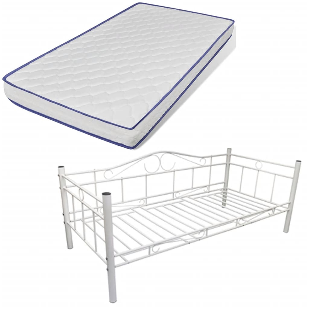 vidaXL Wit metalen bed 90 x 200 cm met Memory Foam Matras