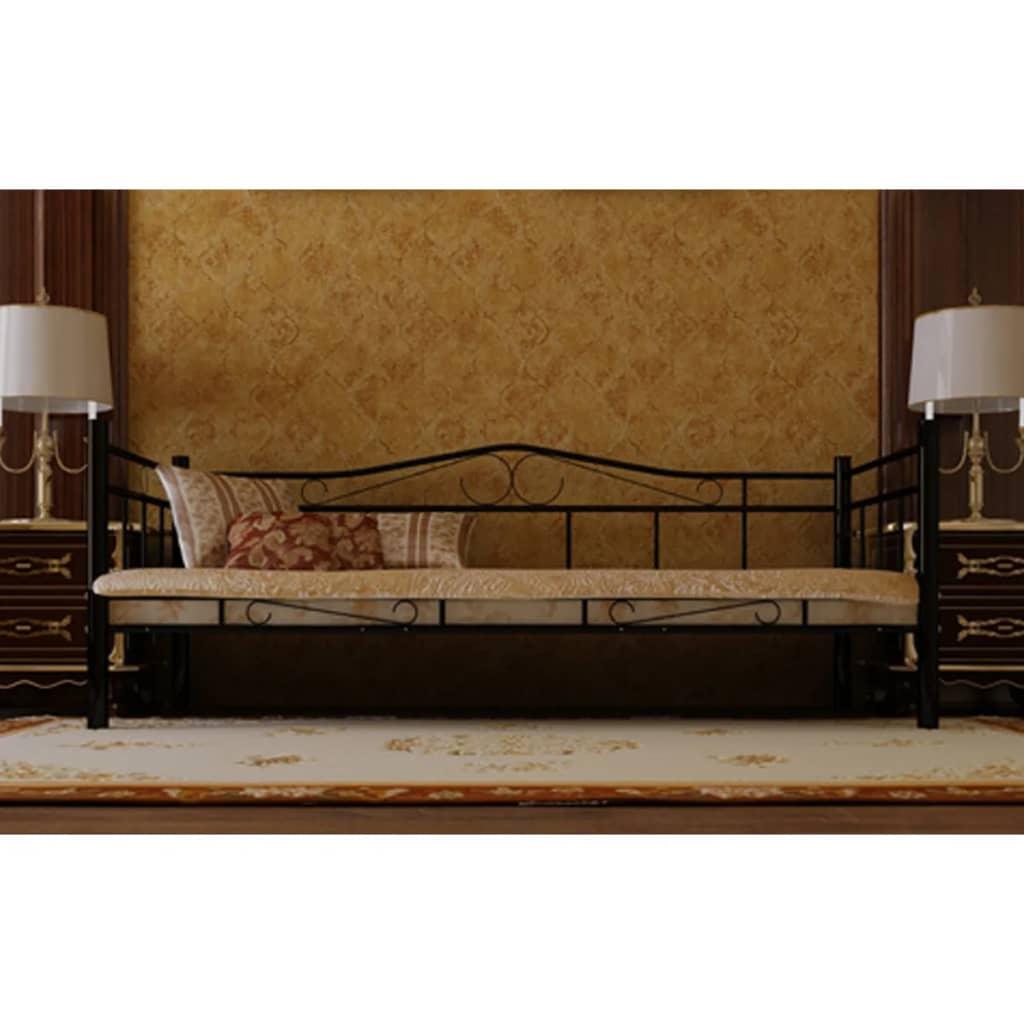 Cama individual de metal negro con colch n incl 90 x 200 for Colchon para cama individual