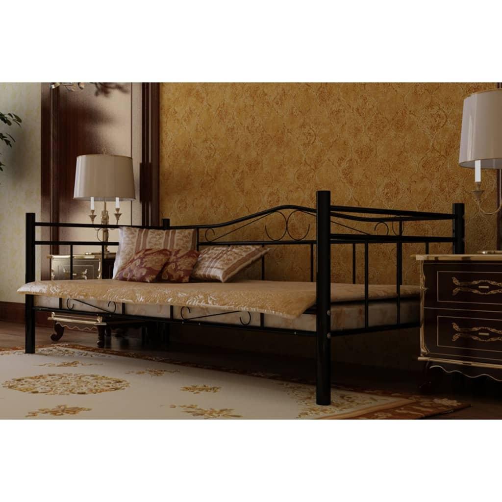 vidaXL Fém ágy formafelvevő matraccal 90 x 200 cm fekete