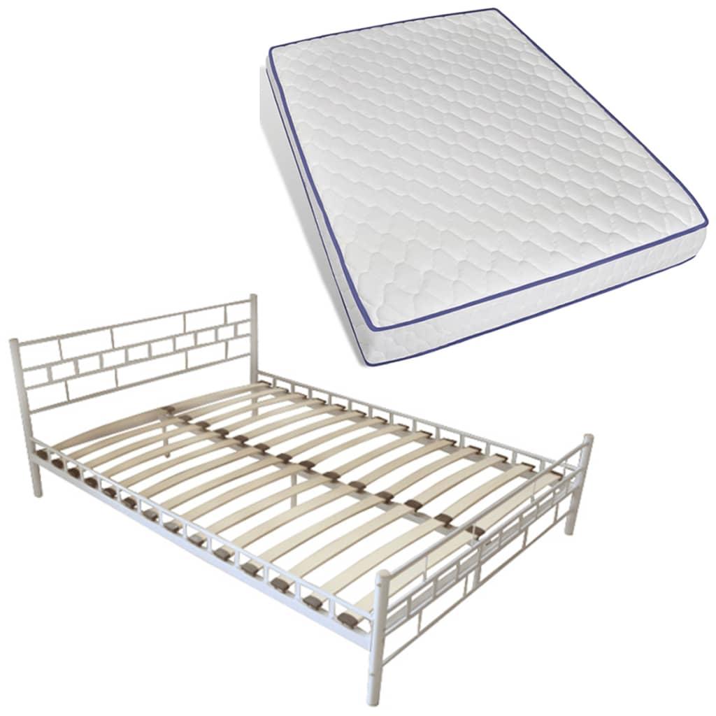 vidaXL Wit metalen bed 180 x 200 cm met Memory Foam Matras