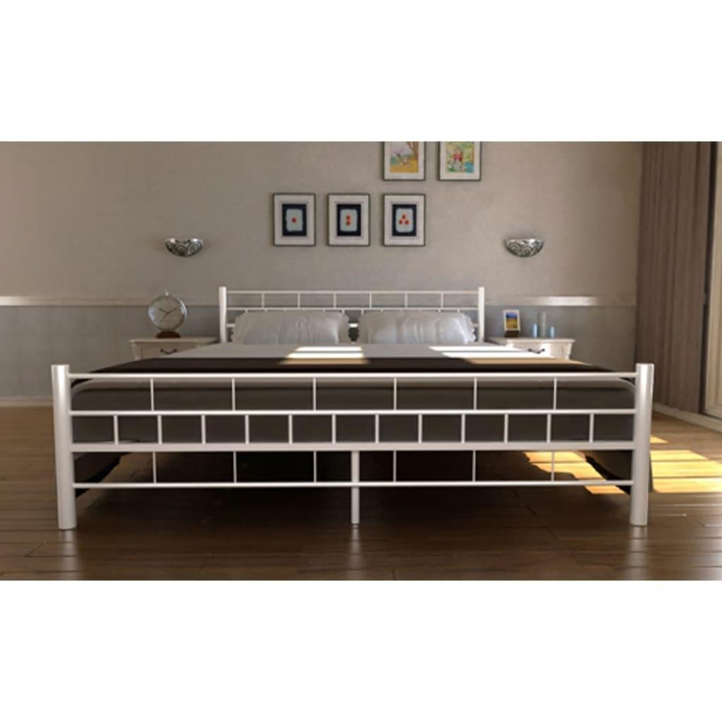 bett metallbett 140 x 200 cm mit memory schaum matratze wei g nstig kaufen. Black Bedroom Furniture Sets. Home Design Ideas