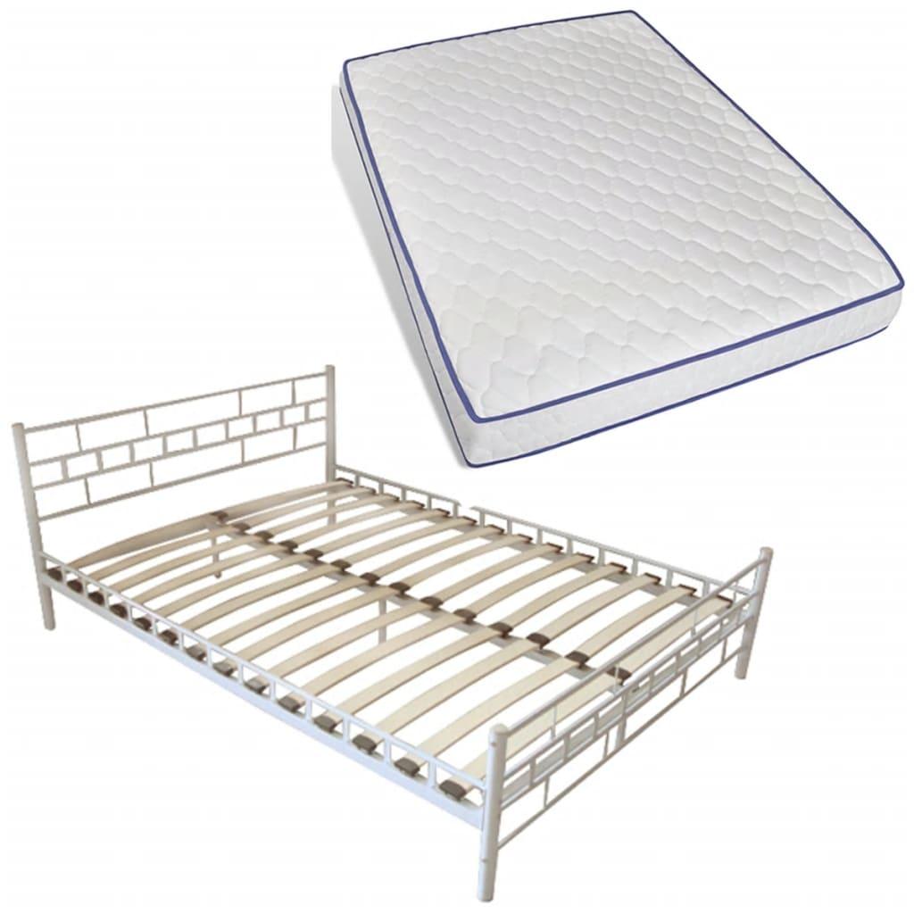 der bett metallbett 140 x 200 cm mit memory schaum matratze wei online shop. Black Bedroom Furniture Sets. Home Design Ideas