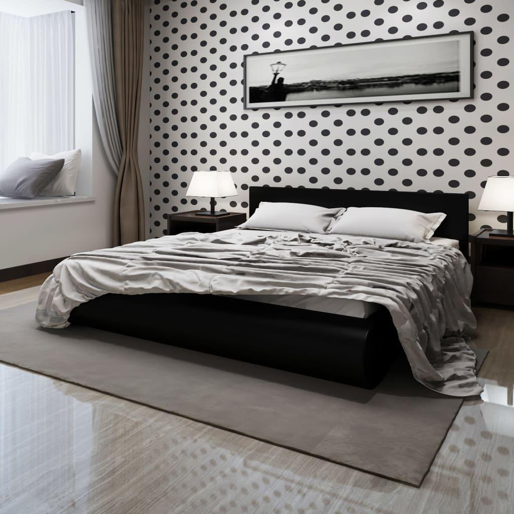 Säng i svart konstläder 180 x 200 cm med memory foam madrass 240850+241076