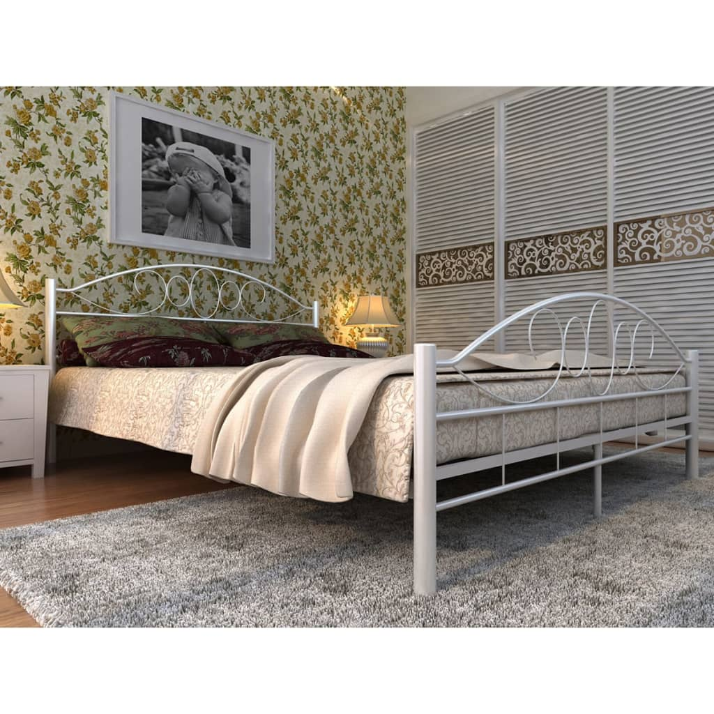 bett metallbett 180 x200 memory schaum matratze wei. Black Bedroom Furniture Sets. Home Design Ideas