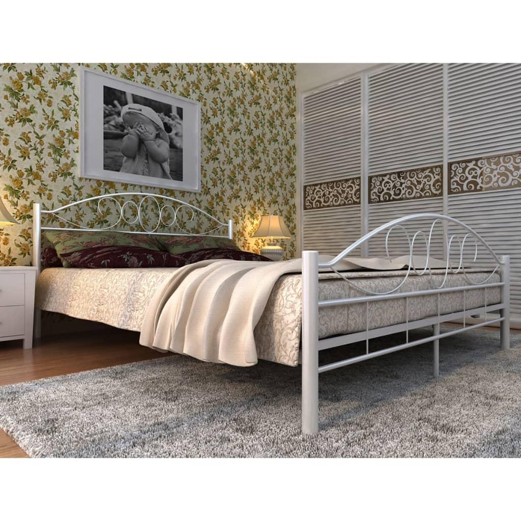 vidaXL Wit kunstleren bed golvend ontwerp 180 x 200 cm met Memory Foam Matras