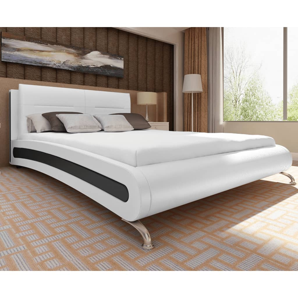 lit en cuir artificiel blanc noir avec matelas m moire. Black Bedroom Furniture Sets. Home Design Ideas