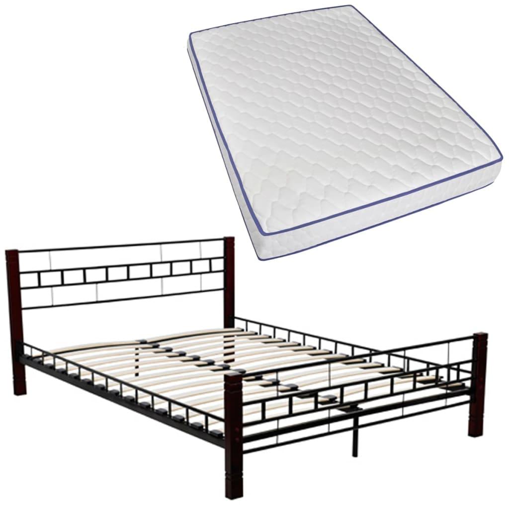 vidaXL Metalen Bed 180 x 200 cm (zwart en roodbruin) met Memory Foam Matras