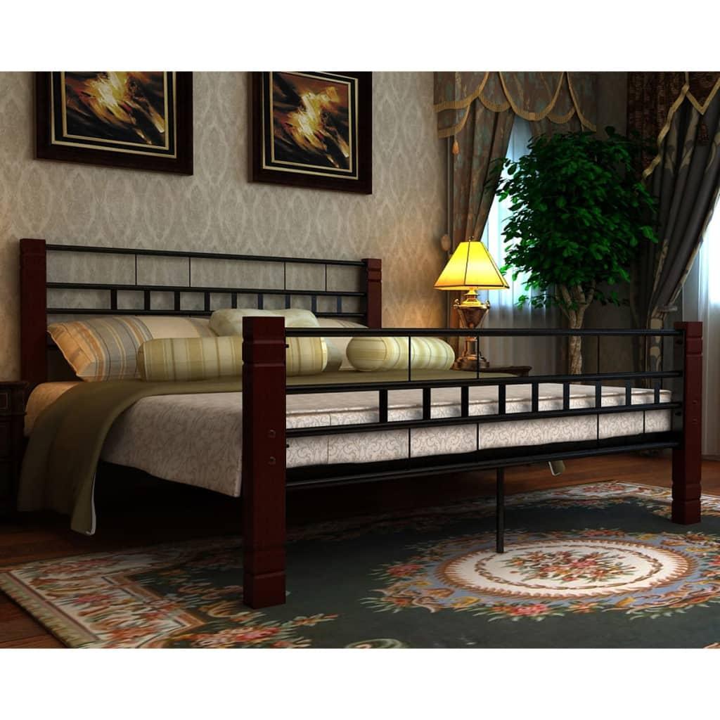 vidaXL fekete és piros fém ágy matraccal 180 x 200 cm