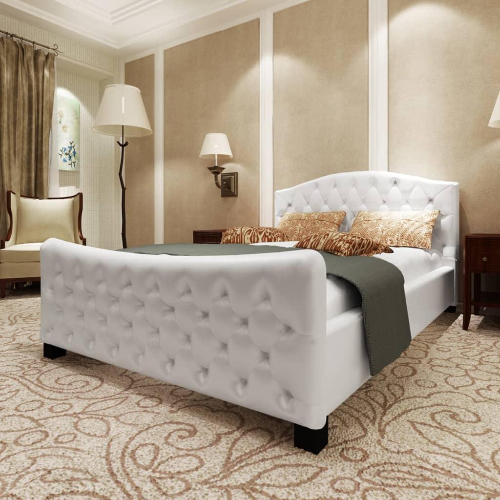 Cama doble de cuero artificial blanco con colch n 140 x - Camas de cuero ...