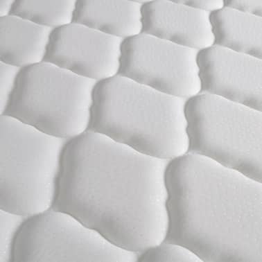 Hvid kunstlæder platform seng 140 x 200 cm med viskoelastisk skum ...