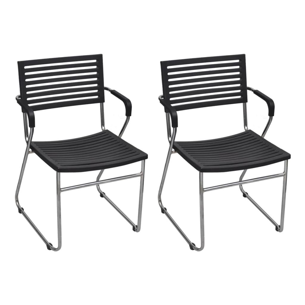 vidaXL 12 db fekete, rakásolható, műanyag háttámlás szék vas vázzal