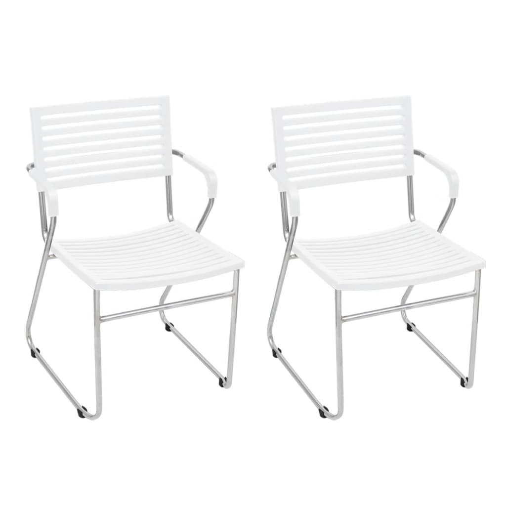 vidaXL 12 db fehér, rakásolható, műanyag háttámlás szék vas vázzal