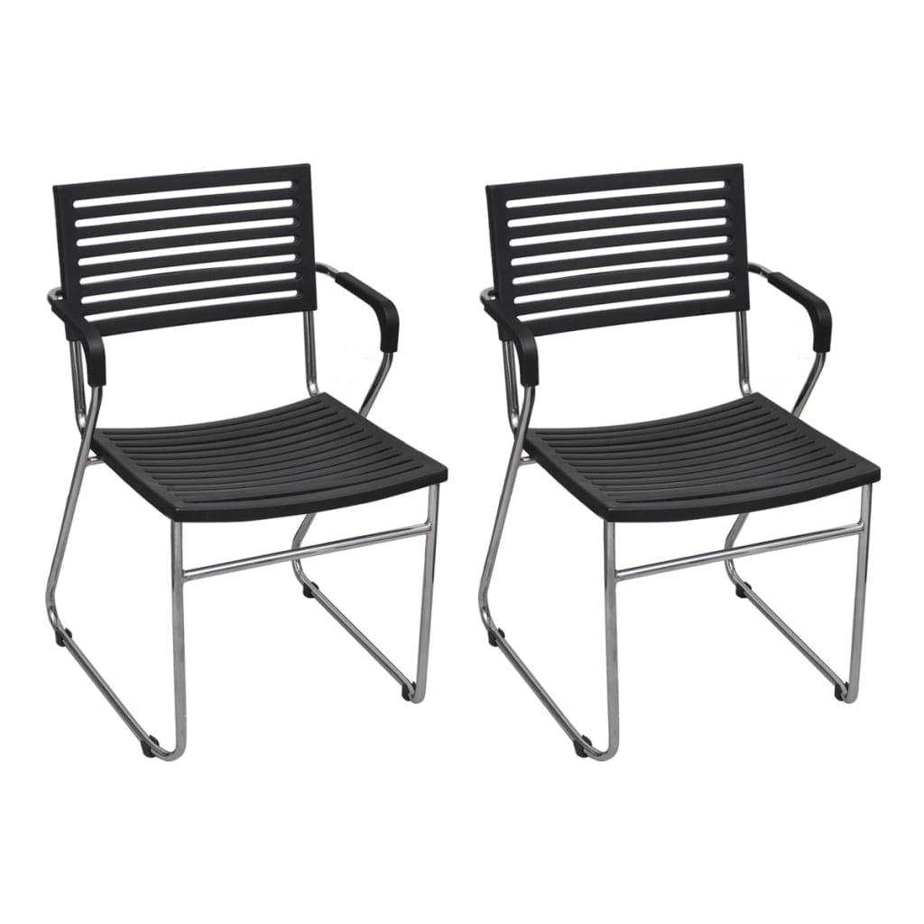 vidaXL Krzesła sztaplowane, 24 szt., żelazna rama i plastik, czarne