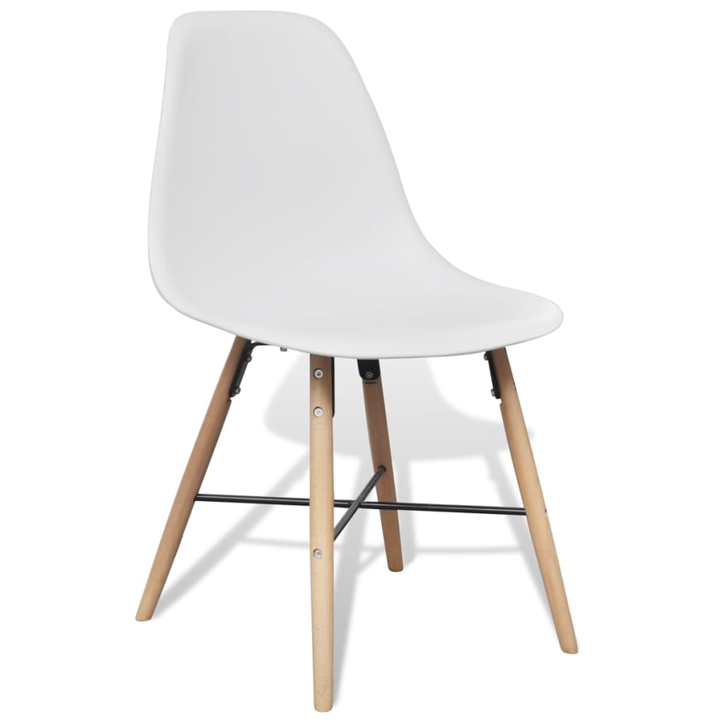 6 White Armless Dining Chairs With Hardwood Legs