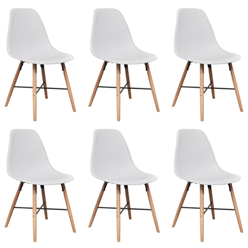 Matbordsstol i vit plast med träben 6-pack