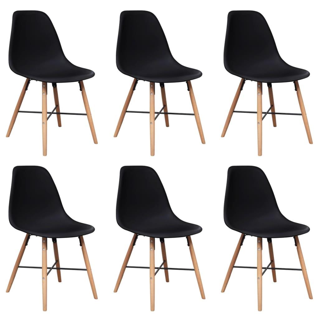 Matbordsstol i svart plast med träben 6-pack