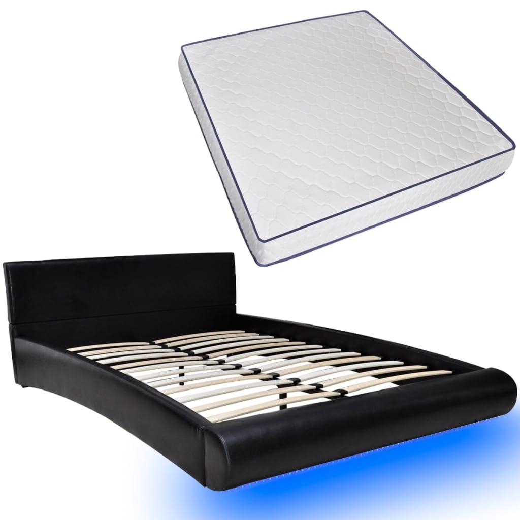 Articoli per Letto Pelle Artificiale Nero con Materasso a Memoria 180 x 200 cm LED  vidaXL.it