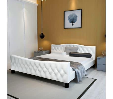 luxe kunstleren bed met traagschuim matras 180 x 200 wit ebay