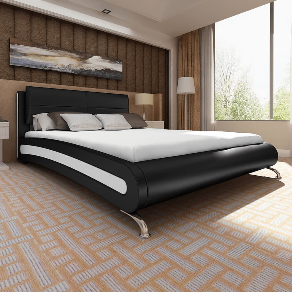 vidaXL Fekete-fehér műbőr ágy lábbal és memóriahabos matraccal 180 x 200 cm