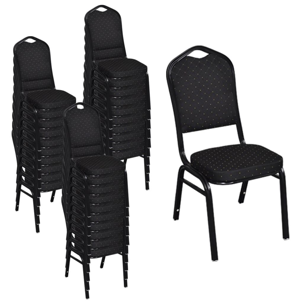 vidaXL Krzesła do jadalni, 30 szt., sztaplowane, materiałowe, czarne