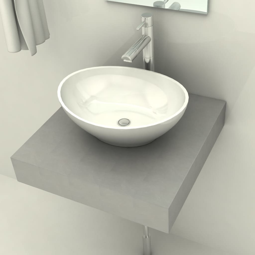 acheter comptoir en b ton avec 1 vasque poser en c ramique ovale pas cher. Black Bedroom Furniture Sets. Home Design Ideas