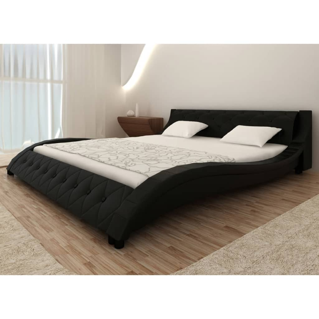 acheter lit en simili cuir vague matelas m moire de forme noir 180 200cm pas cher. Black Bedroom Furniture Sets. Home Design Ideas