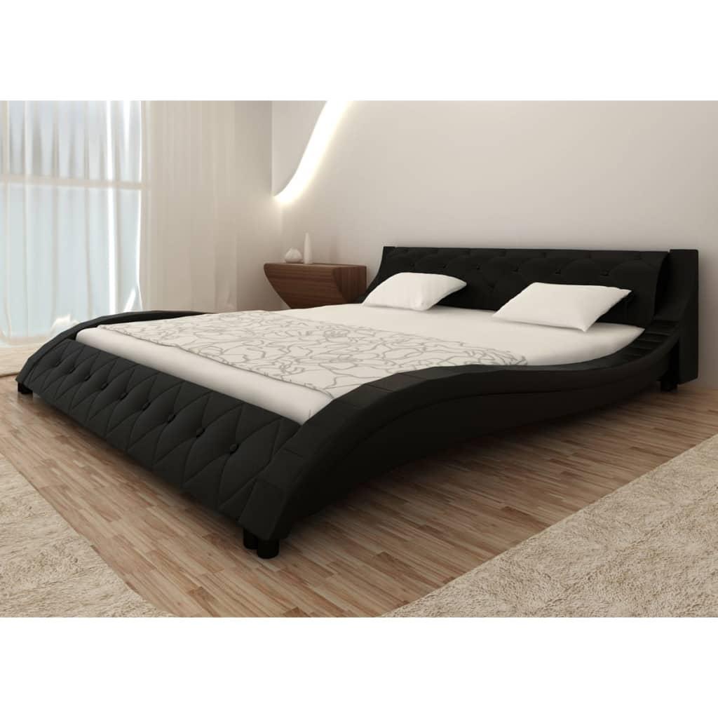 acheter lit en simili cuir vague matelas m moire de forme noir 140 200cm pas cher. Black Bedroom Furniture Sets. Home Design Ideas