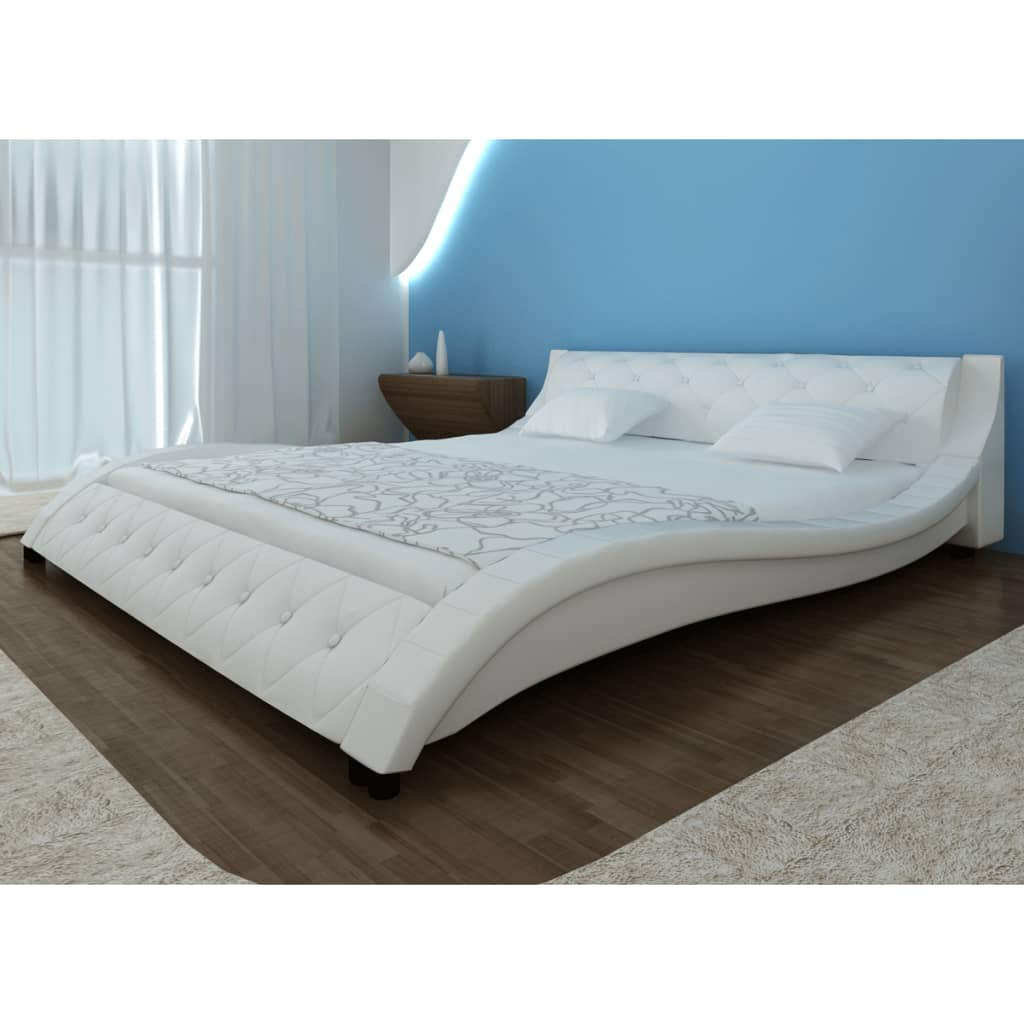 acheter lit en simili cuir vague matelas m moire de forme blanc 140 cm pas cher. Black Bedroom Furniture Sets. Home Design Ideas