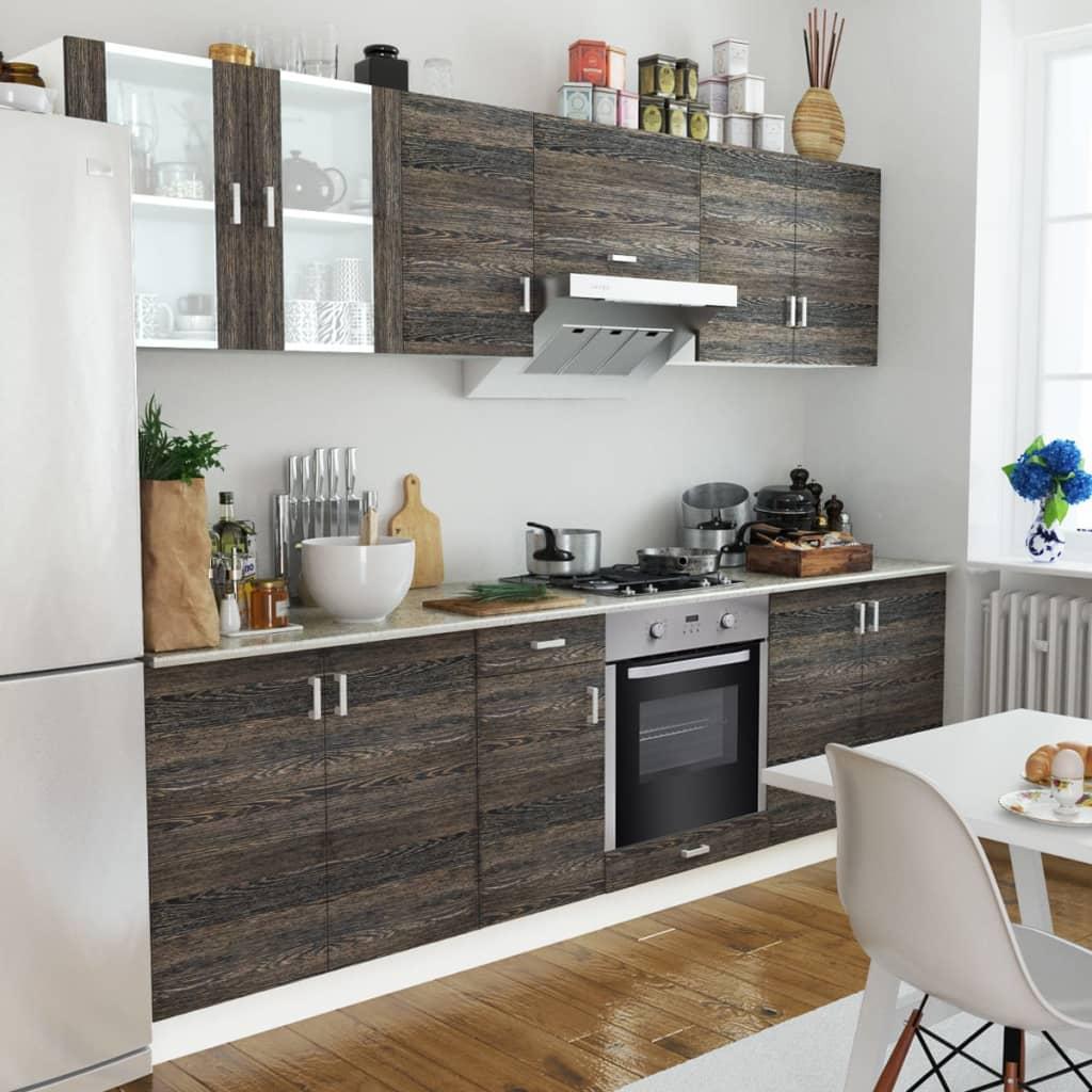 Köksskåp Uppsättning Wenge Look med Inbyggd Ugn 8 funktioner