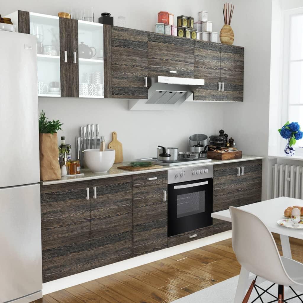 Köksskåp Uppsättning Wenge Look med Inbyggd Ugn och Värmeplatta