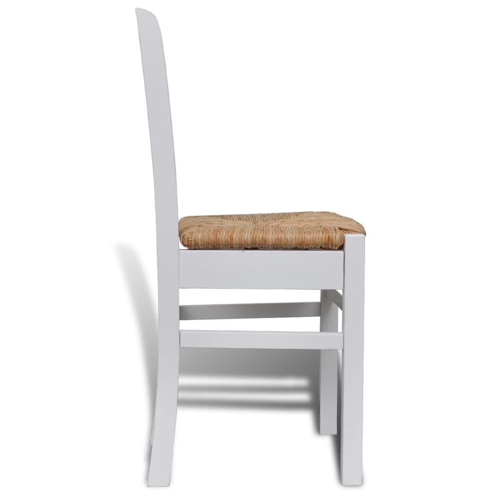 Silla de comedor 6 unidades blancas de madera tienda for Sillas de cocina blancas de madera