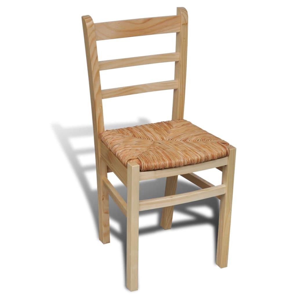Acheter 6 pcs chaise de salle manger vernis naturel pas for 6 chaises de salle a manger pas cher