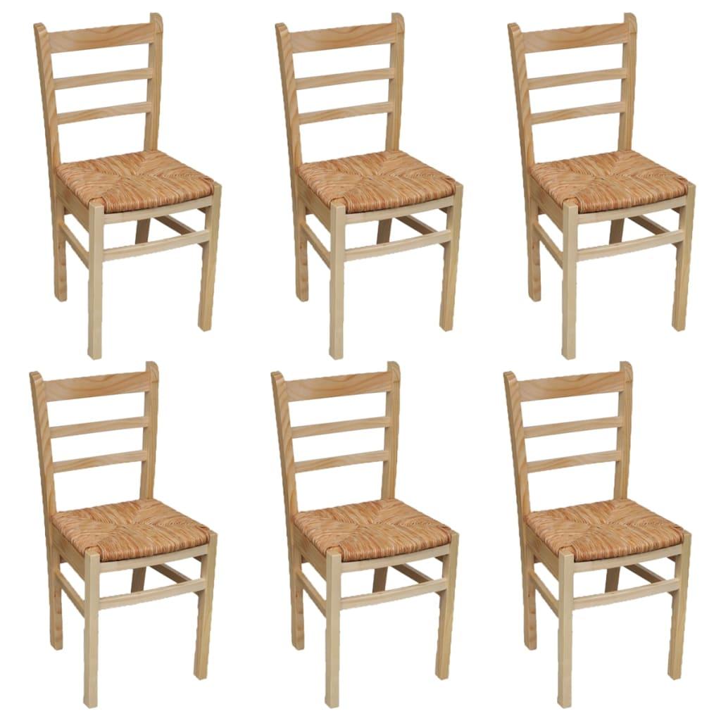 Acheter 6 pcs chaise de salle manger vernis naturel pas for Acheter chaise salle manger pas cher