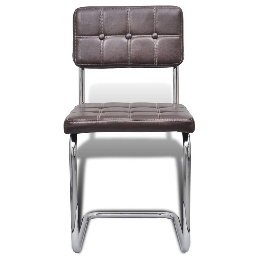 Acheter 6 pi ces chaise de salle manger avec bouton brun for 6 chaises de salle a manger