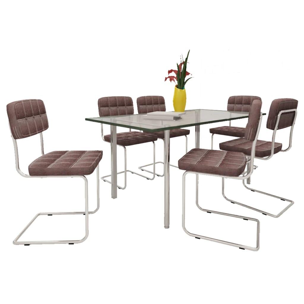 der braune kunstlederst hle esszimmerstuhl mit kn pfen 6. Black Bedroom Furniture Sets. Home Design Ideas
