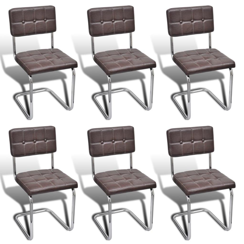 braune kunstlederst hle esszimmerstuhl mit kn pfen 6 st ck g nstig kaufen. Black Bedroom Furniture Sets. Home Design Ideas