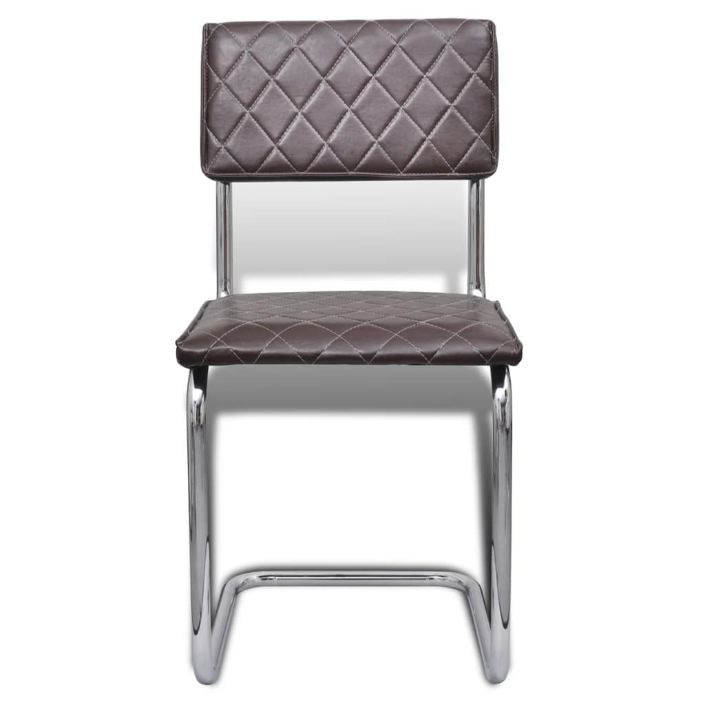acheter vidaxl chaise de salle manger 6 pcs cuir synth tique marron pas cher. Black Bedroom Furniture Sets. Home Design Ideas