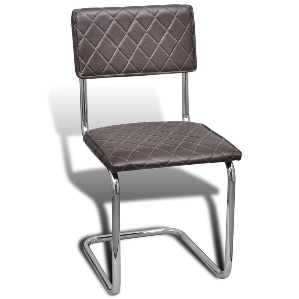 Vidaxl sillas de comedor de cuero artificial marr n 6 - Sillas en cuero ...