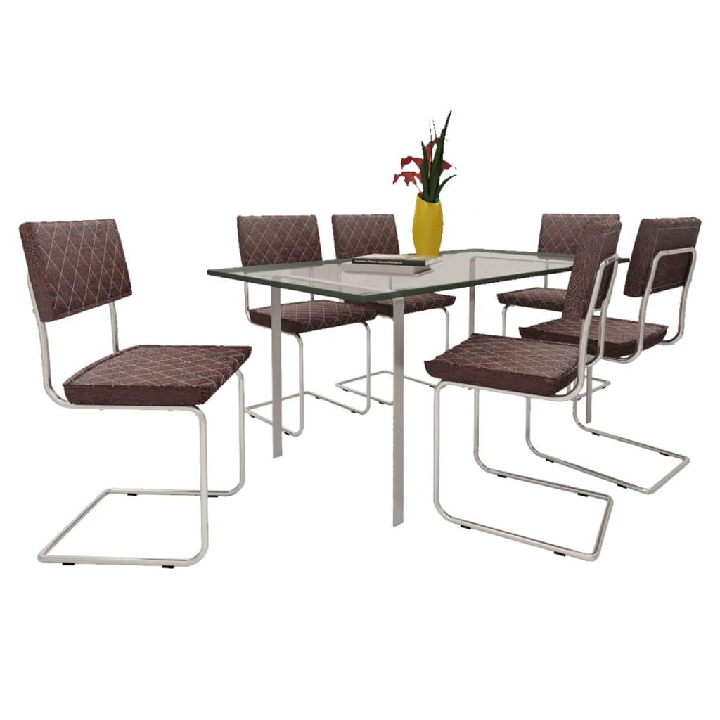 Vidaxl 6 pz sedie per sala da pranzo in pelle artificiale for Sedie in pelle per sala da pranzo