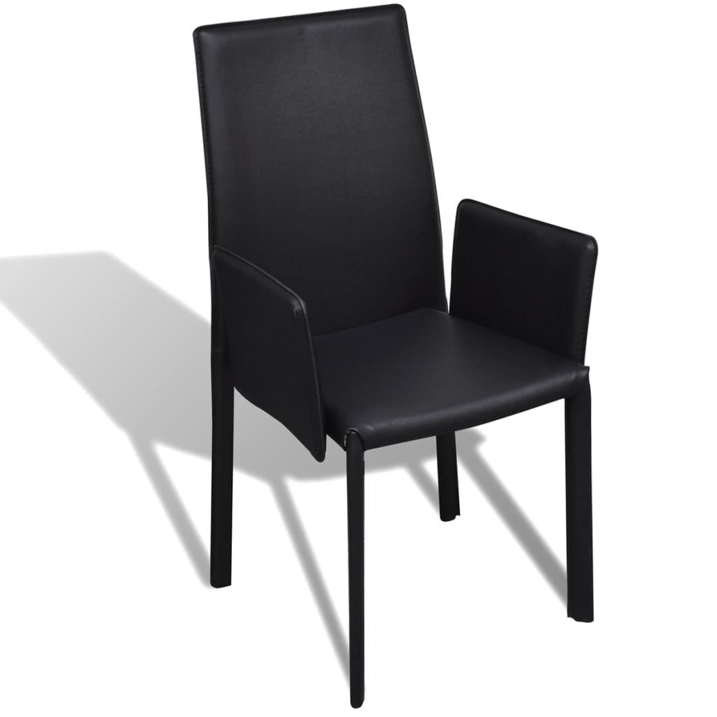 schwarzer kunstlederstuhl mit armlehne esszimmerstuhl 4 st ck g nstig kaufen. Black Bedroom Furniture Sets. Home Design Ideas