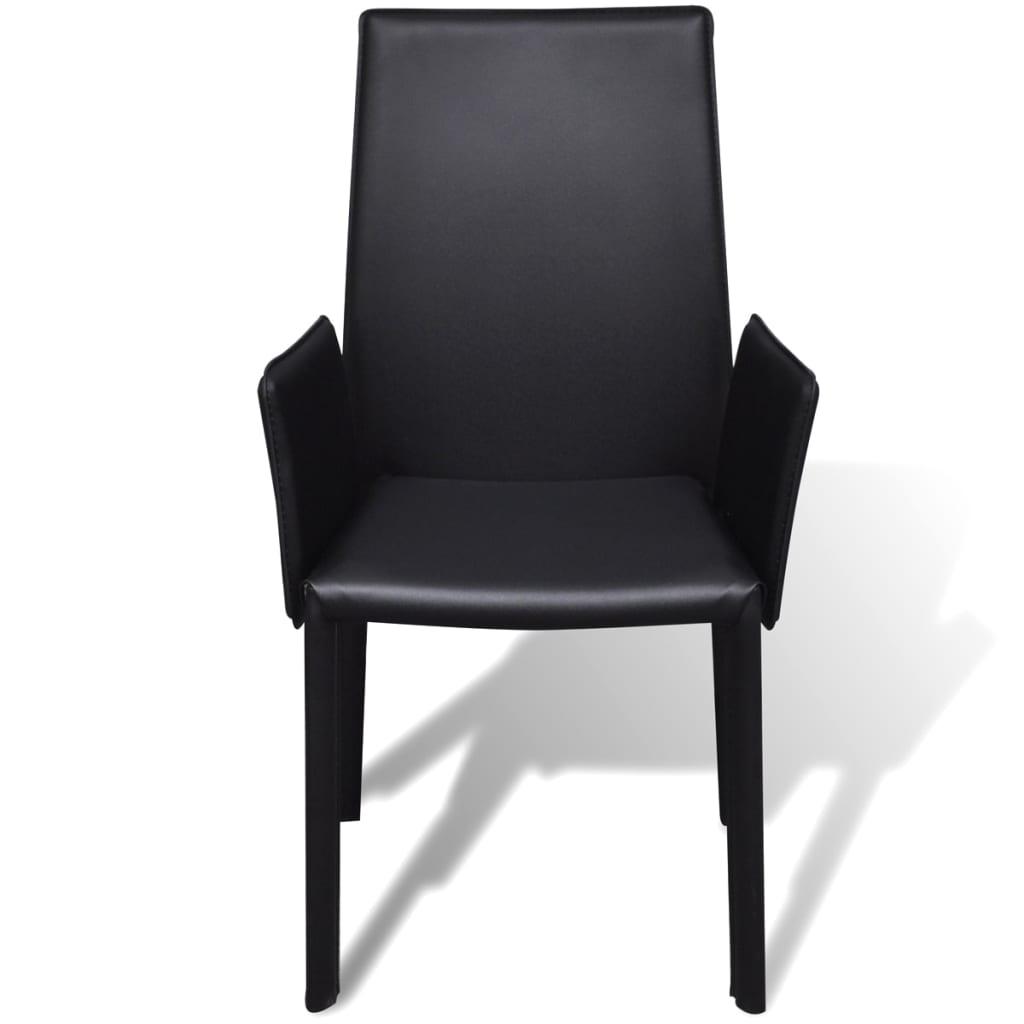 der schwarzer kunstlederstuhl mit armlehne esszimmerstuhl. Black Bedroom Furniture Sets. Home Design Ideas