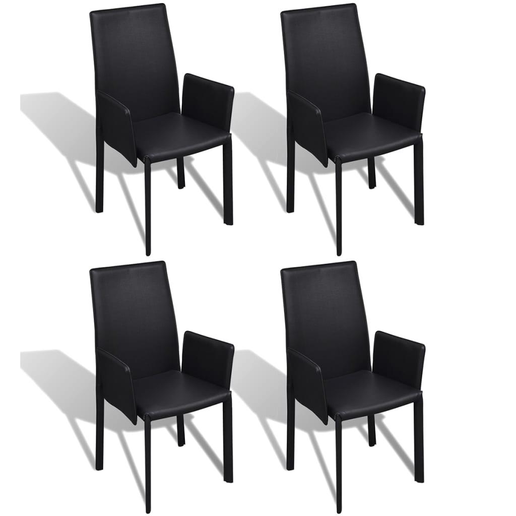 der schwarzer kunstlederstuhl mit armlehne esszimmerstuhl 4 st ck online shop. Black Bedroom Furniture Sets. Home Design Ideas
