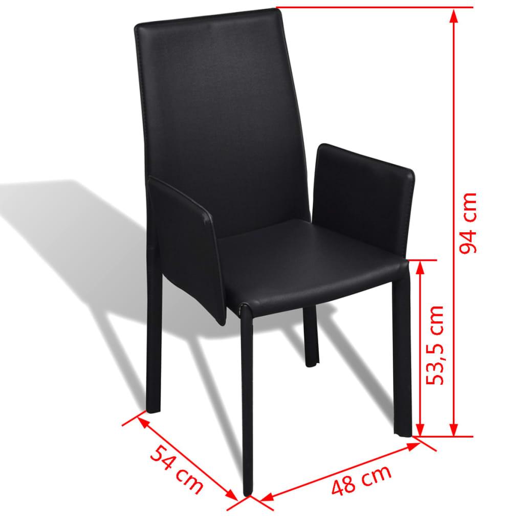 schwarzer kunstlederstuhl mit armlehne esszimmerstuhl 6. Black Bedroom Furniture Sets. Home Design Ideas