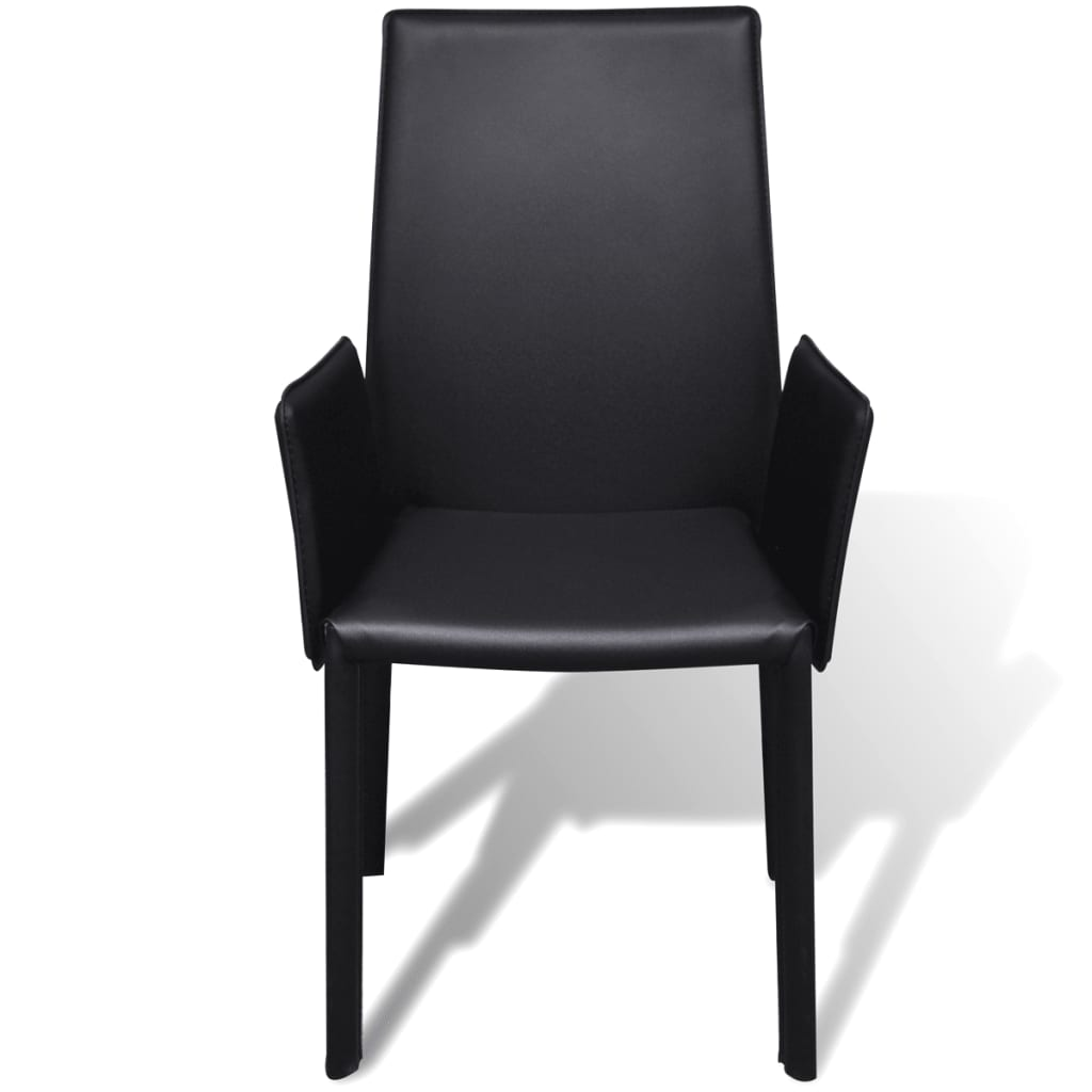 Silla de comedor con cuero artificial negro 6 unidades for Sillas de cuero para comedor