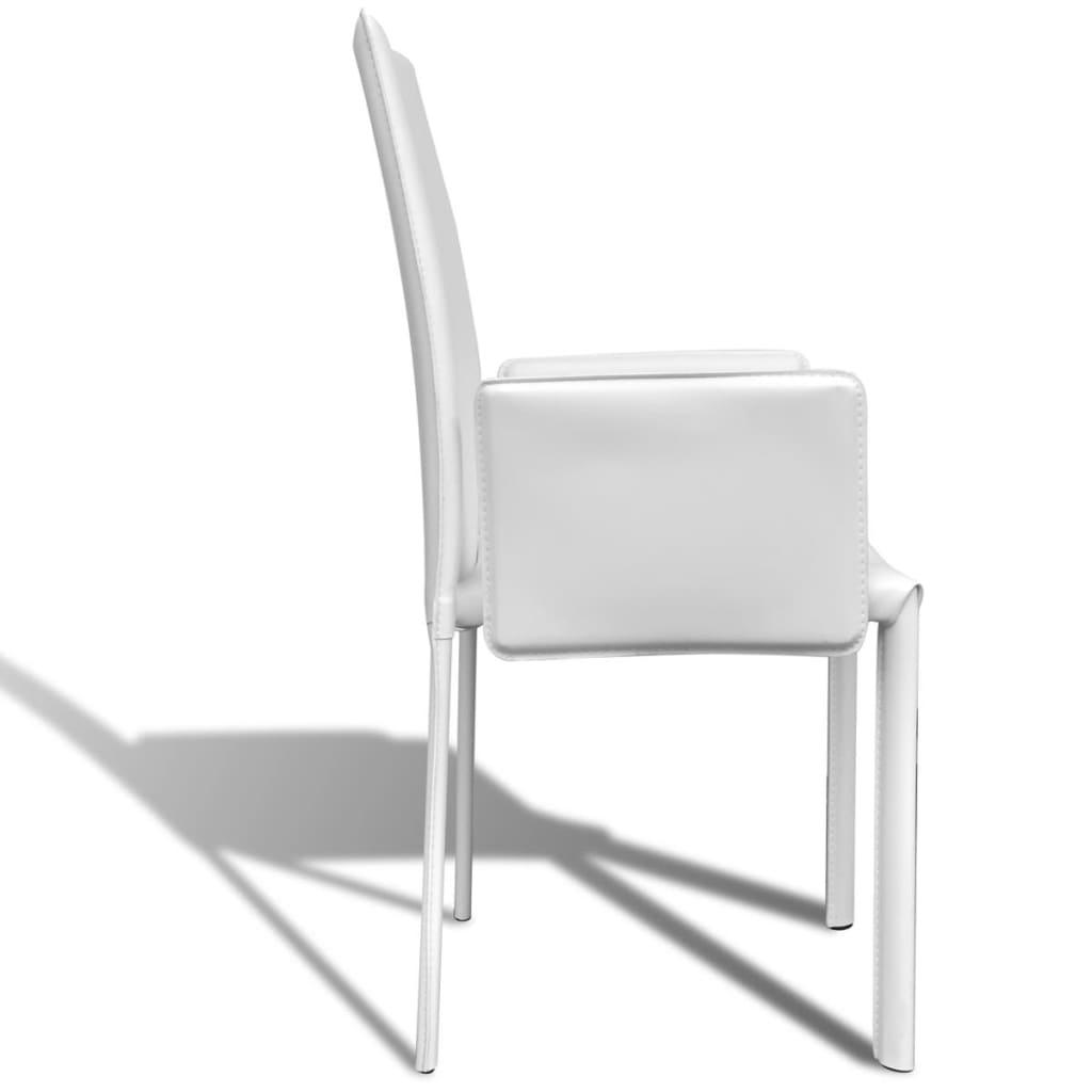 der wei er kunstlederstuhl mit armlehne esszimmerstuhl 4. Black Bedroom Furniture Sets. Home Design Ideas