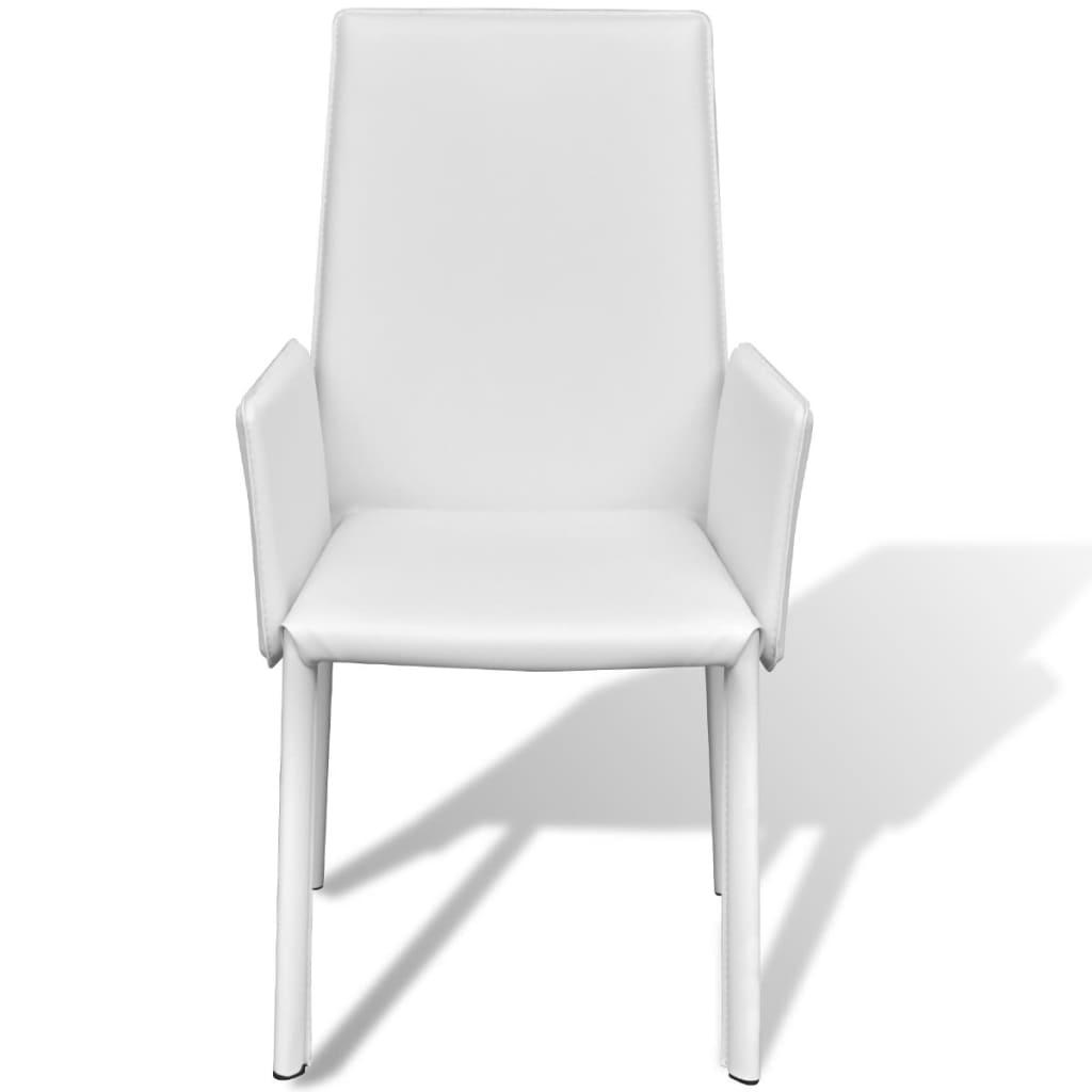 der wei er kunstlederstuhl mit armlehne esszimmerstuhl 4 st ck online shop. Black Bedroom Furniture Sets. Home Design Ideas