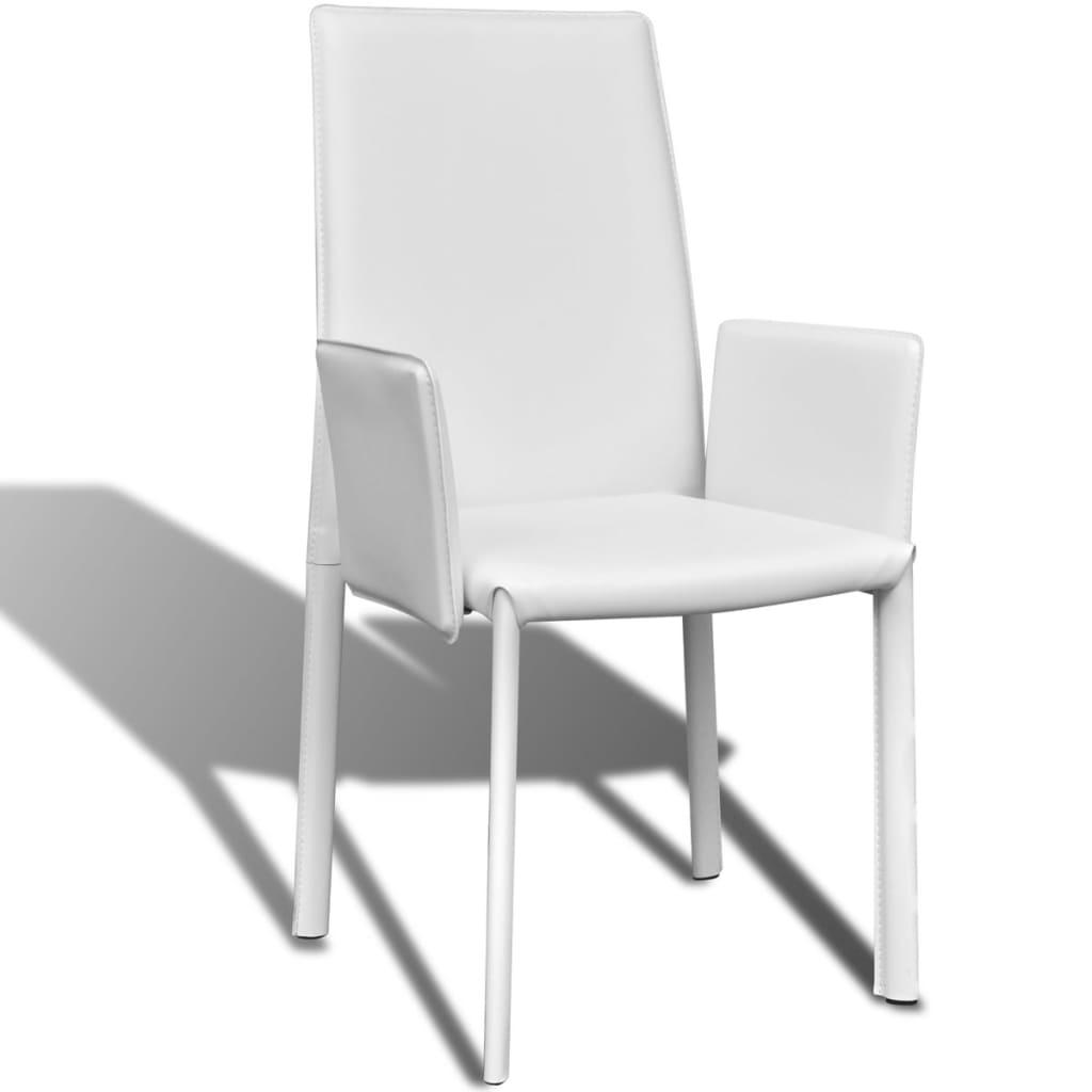 der wei er kunstlederstuhl mit armlehne esszimmerstuhl 6 st ck online shop. Black Bedroom Furniture Sets. Home Design Ideas